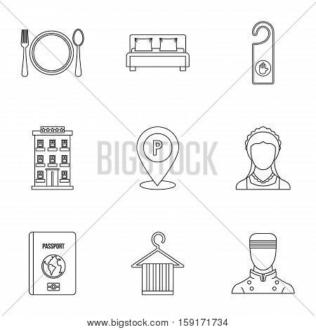Staying in hotel icons set. Outline illustration of 9 staying in hotel vector icons for web
