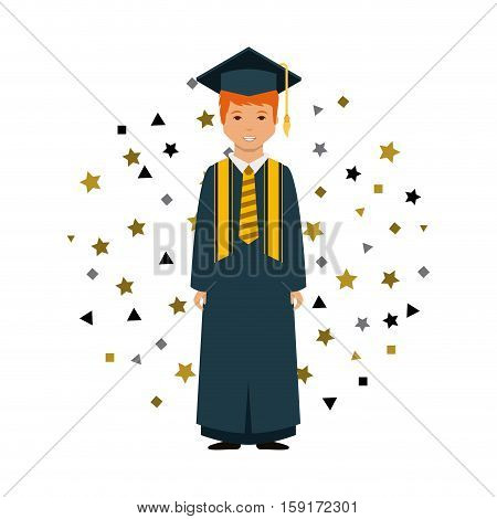 cartoon graduate man with graduation gown and hat over white background. colorful design. vector illustration