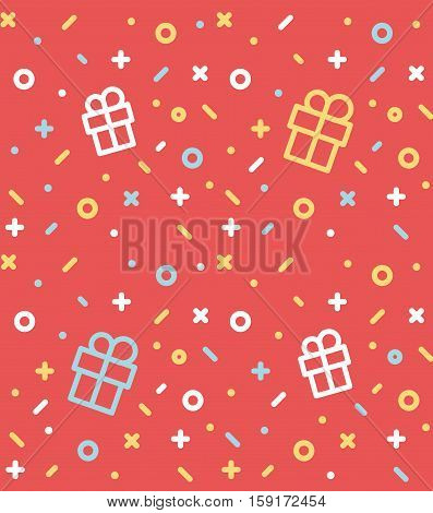 Geometric pattern with gifts, circles, dots, pros and crosses. Red background for the cover of the feast Memphis style or background