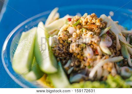 Thai Food - Spicy Horseshoe Crab Egg Salad, Pimp Egg Salad. Thai Sea Food. Signature Menu Of Thai Se