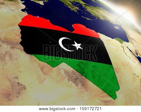 Libya With Flag In Rising Sun