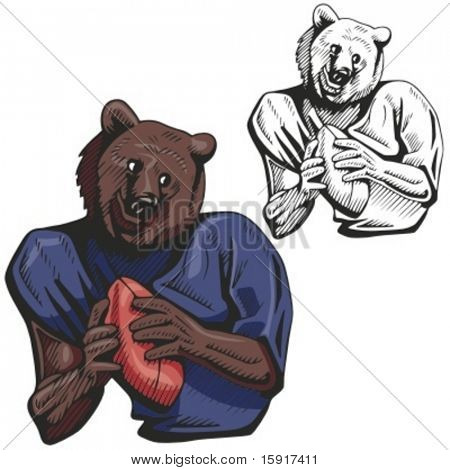 Bear Football Mascot for sport teams. Great for t-shirt designs, school mascot logo and any other design work. Ready for vinyl cutting.