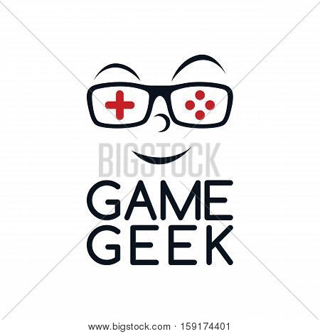 game geek gaming freak fan logo logotype theme cartoon face