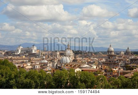 Roma historic city center skyline with old baroque domes