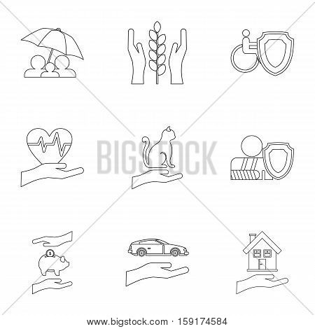 Insurance icons set. Outline illustration of 9 insurance vector icons for web