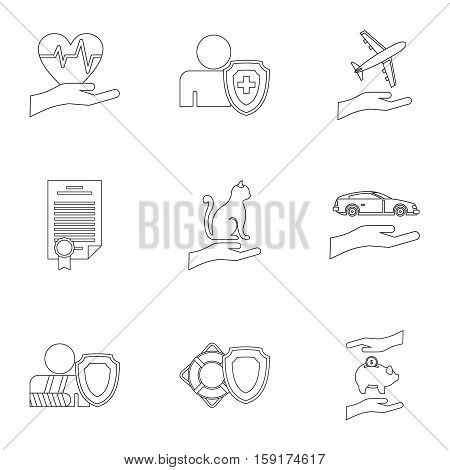 Protection icons set. Outline illustration of 9 protection vector icons for web