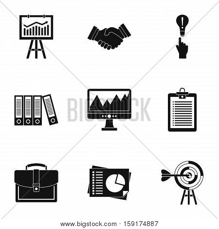 Company icons set. Simple illustration of 9 company vector icons for web
