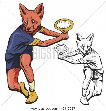 Fox Tennis Mascot. Great for t-shirt designs, school mascot logo and any other design work. Ready for vinyl cutting.