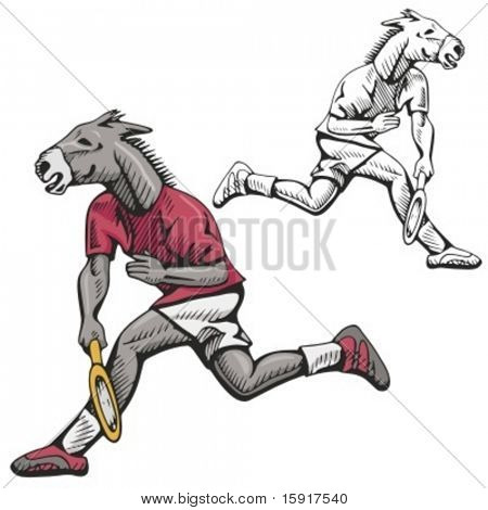 Donkey Tennis Mascot. Great for t-shirt designs, school mascot logo and any other design work. Ready for vinyl cutting.