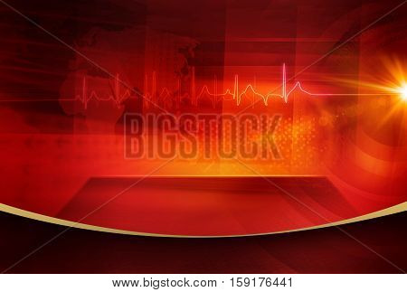 Medical Abstract Background; Suitable for Healthcare and Medical News Topic Electrocardigram Graph with Flat Stage in Front of Digital World Red Theme Background.