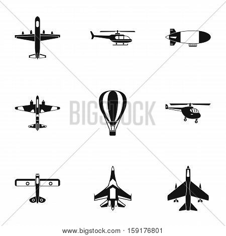 Combat aircraft icons set. Simple illustration of 9 combat aircraft vector icons for web