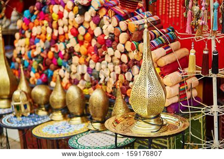 Selection Of Traditional Lamps On Moroccan Market