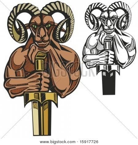 Ram Mascot for sport teams. Great for t-shirt designs, school mascot logo and any other design work. Ready for vinyl cutting.