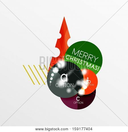 Round Christmas sale stickers with winter holiday elements and light effects. Vector geometric price promo labels