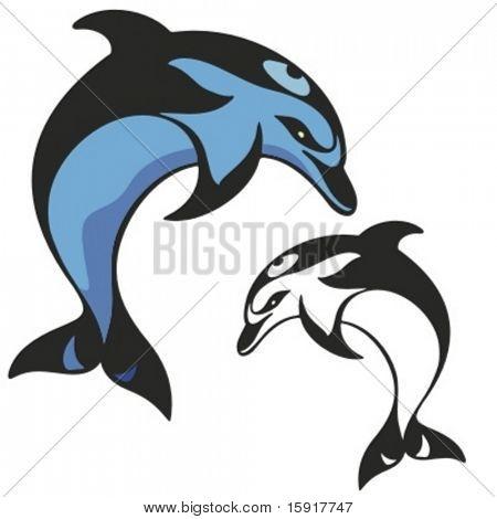 Delphin-Maskottchen für Sport-Teams. Ideal für T-shirt Designs, design Maskottchen Schullogo und sonstige w