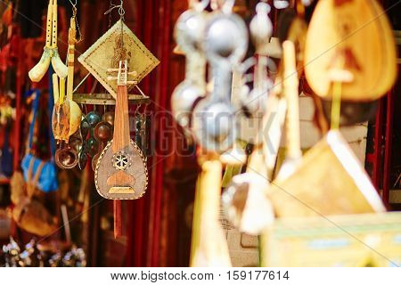 Selection Of Traditional Musical Instruments On Moroccan Market