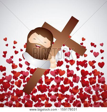 cartoon jesus man hugging a wooden cross over red hearts background. catholic love design. vector illustration