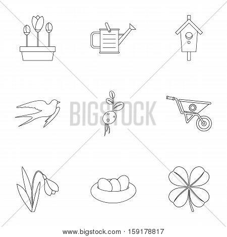 Tending garden icons set. Outline illustration of 9 tending garden vector icons for web