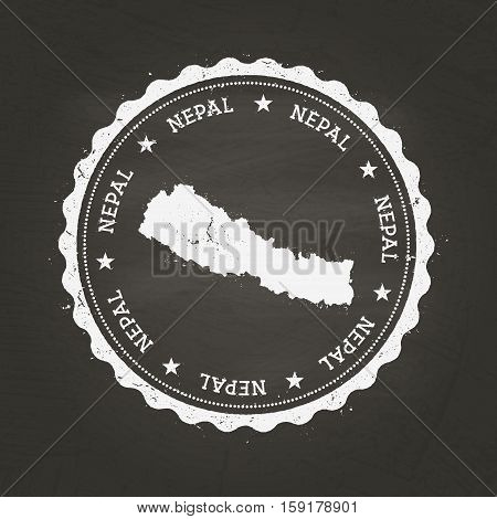 White Chalk Texture Rubber Stamp With Federal Democratic Republic Of Nepal Map On A School Blackboar