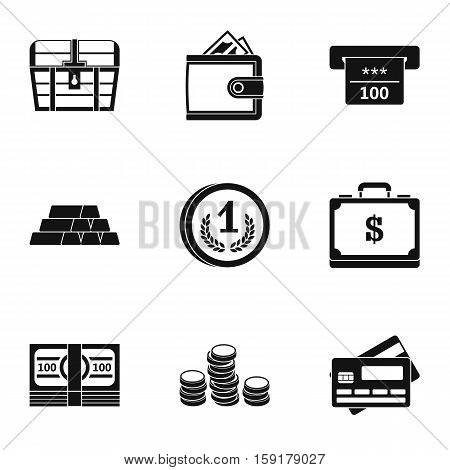 Monetary resource icons set. Simple illustration of 9 monetary resource vector icons for web
