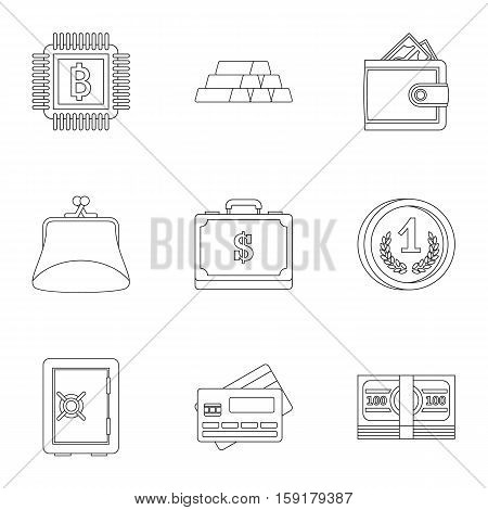 Bank icons set. Outline illustration of 9 bank vector icons for web