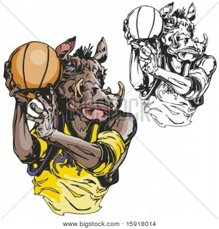 Wild Boar Basketball Mascot.. Ready for vinyl cutting.