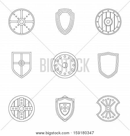 Protective shield icons set. Outline illustration of 9 protective shield vector icons for web