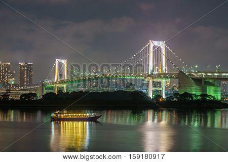 Tokyo tower and rainbow bridge in Tokyo Japan.