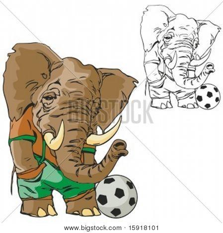 Elefant-Fußball-Maskottchen. Ideal für T-shirt Designs, Maskottchen Schullogo und anderen Design arbeiten. REA