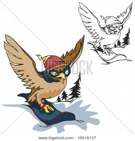 Bird Snowboarding Mascot. Great for t-shirt designs, school mascot logo and any other design work. Ready for vinyl cutting.