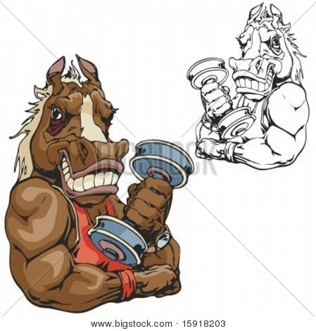 Horse Fitness Mascot. Great for t-shirt designs, school mascot logo and any other design work. Ready for vinyl cutting.