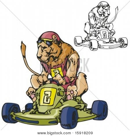 Lion Karting Mascot. Great for t-shirt designs, school mascot logo and any other design work. Ready for vinyl cutting.