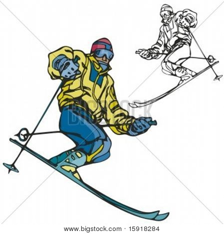 Ski sport. Vector illustration
