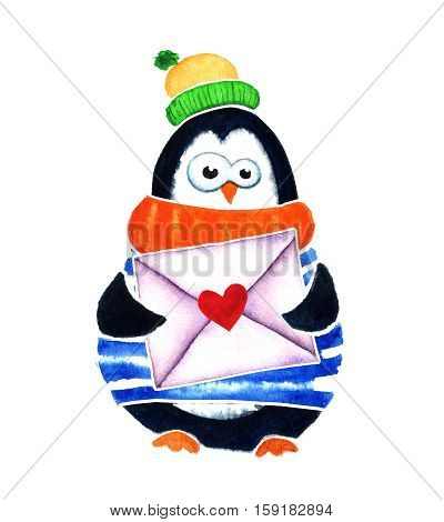 Cute Penguin With Heart And Envelope Dreams About Love. Cartoon Babies  Little Kids. Watercolor Illu