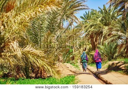 Women In National Clothes Walking In Oasis