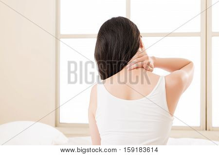 Beautiful Asian Woman Suffering Shoulder Neck Ache Tired