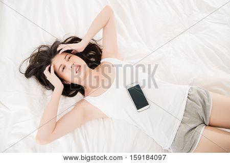 Asian Woman Feel Headache Use Smart Phone Cry For Help