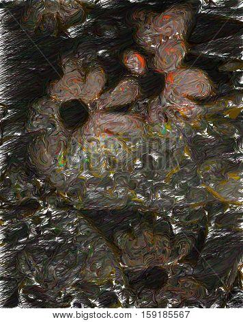 Abstract painting. Dark flowers.    3D Render