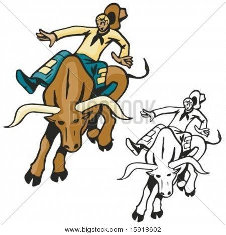 Bull bareback riding. Vector illustration