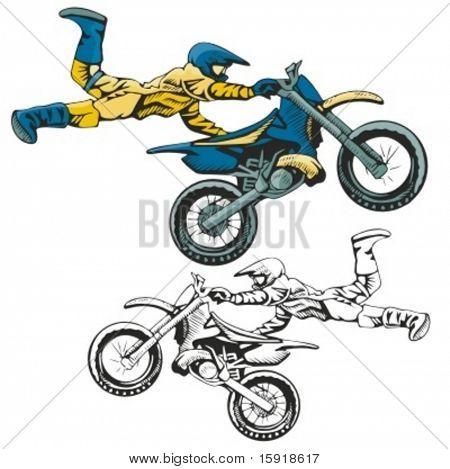 Motocross racer stunt. Vector illustration