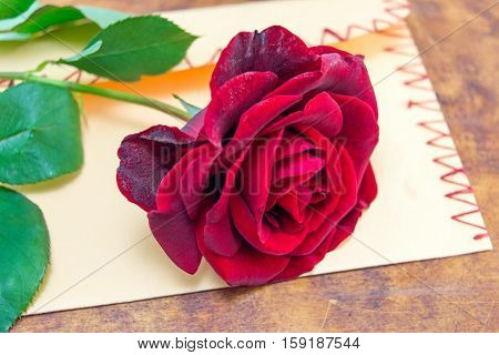Red Rose On A Romantic Envelope