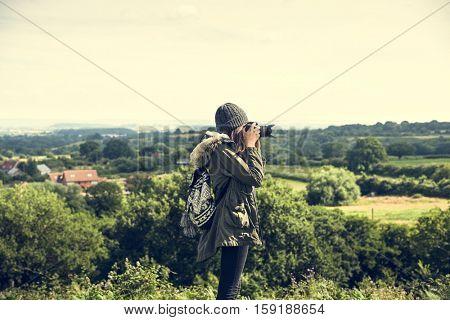 Woman Photography Camera Nature Environment Concept