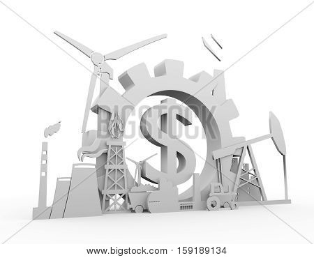 Energy and Power icons set on white backdrop. Sustainable energy generation and heavy industry. 3D rendering. Dollar sign