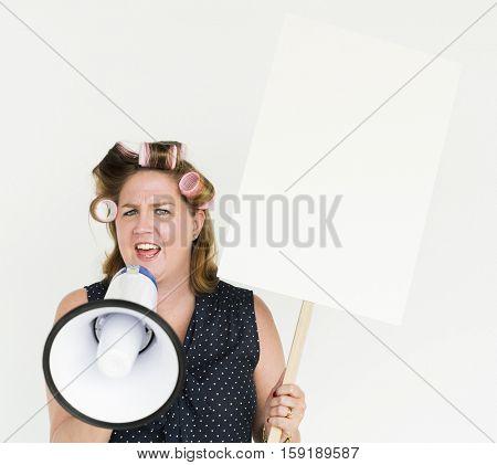 Woman Scream Megaphone Shouting Protest Portrait Concept