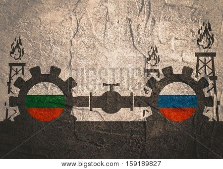 Image relative to gas transit from Russia to Bulgaria. Gears connected by gas pipe. National flags on cog wheels. Concrete textured