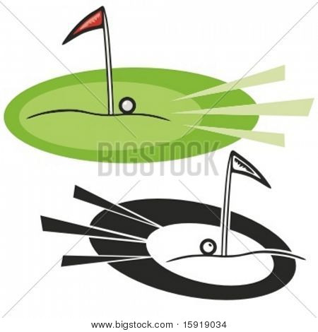 Golf hole with red flag and a ball. Vector illustration