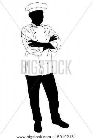 cook chef confidently posing - vector