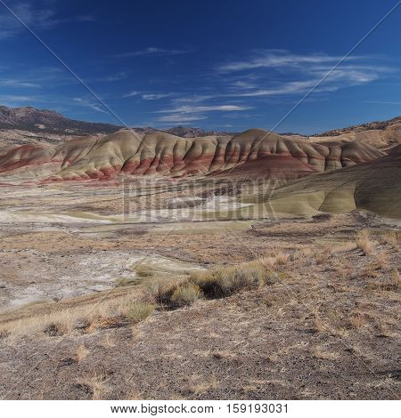 Wild grasses cover the ground in front of the richly colored Painted Hills of Eastern Oregon on a sunny fall afternoon.