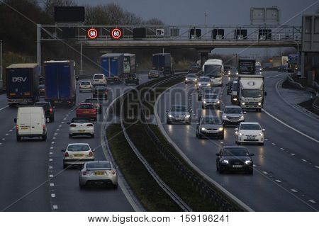 BEDFORDSHIRE, UK -February 12, 2014: Hazardous conditions on the busy M1 motorway near Milton Keynes England UK this afternoon as high winds from a large Atlantic storm caused travel chaos on Britain's roads.