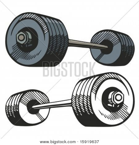 Barbell vector illustration.